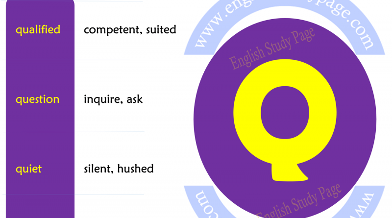 Synonym Words Starting With Letter Q Archives English Study Page