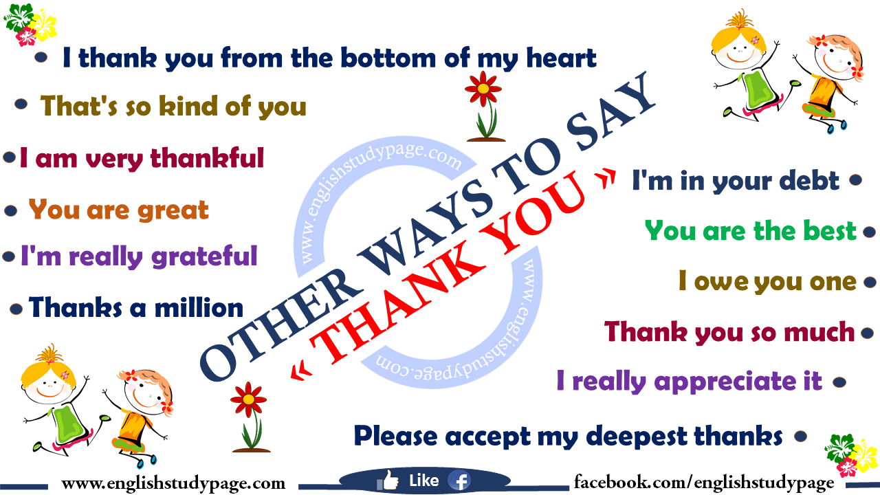other ways to say thank you in english english study page