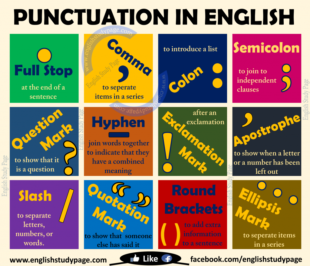 punctuation in english english study page. Black Bedroom Furniture Sets. Home Design Ideas