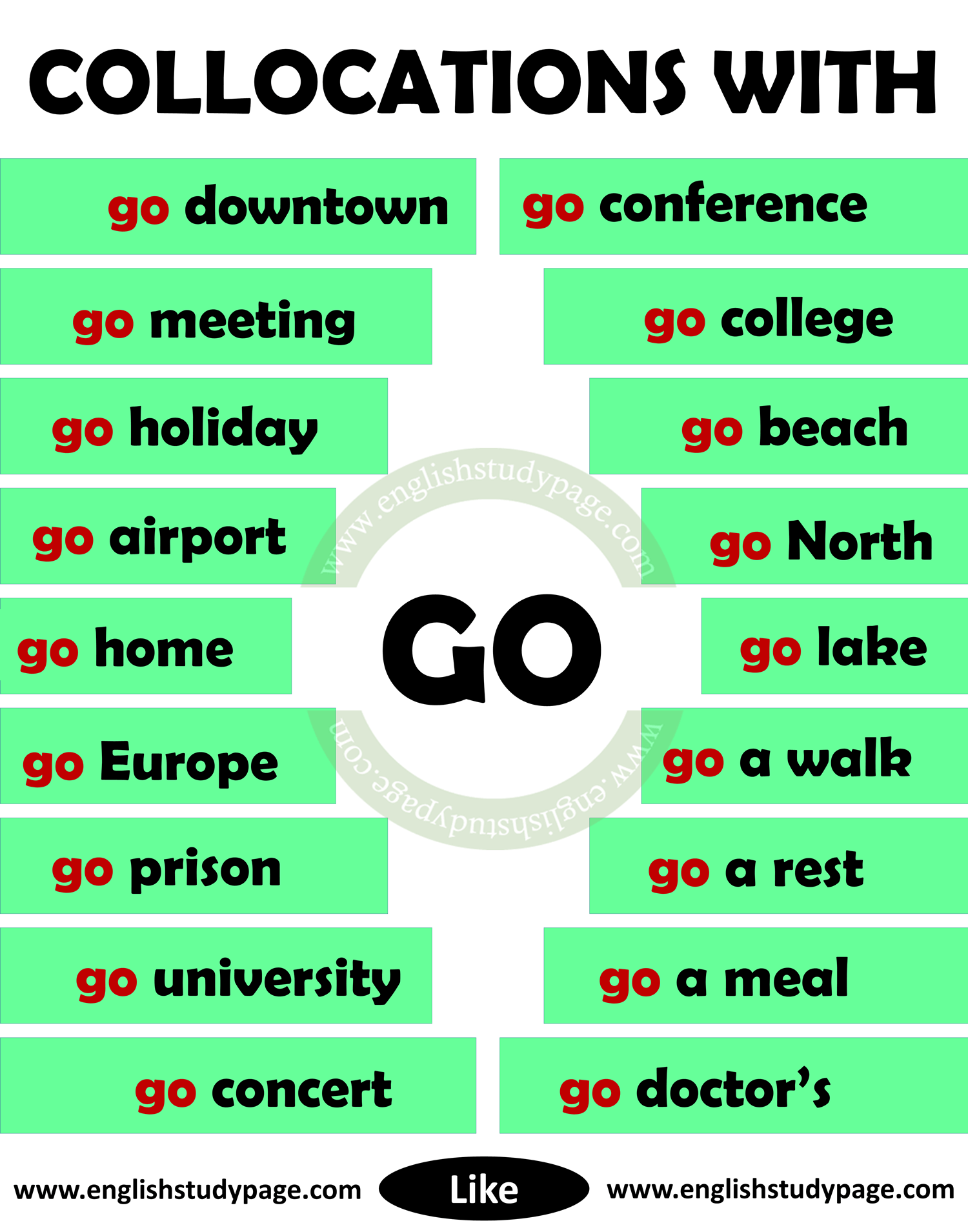 Collocations With Go In English English Study Page