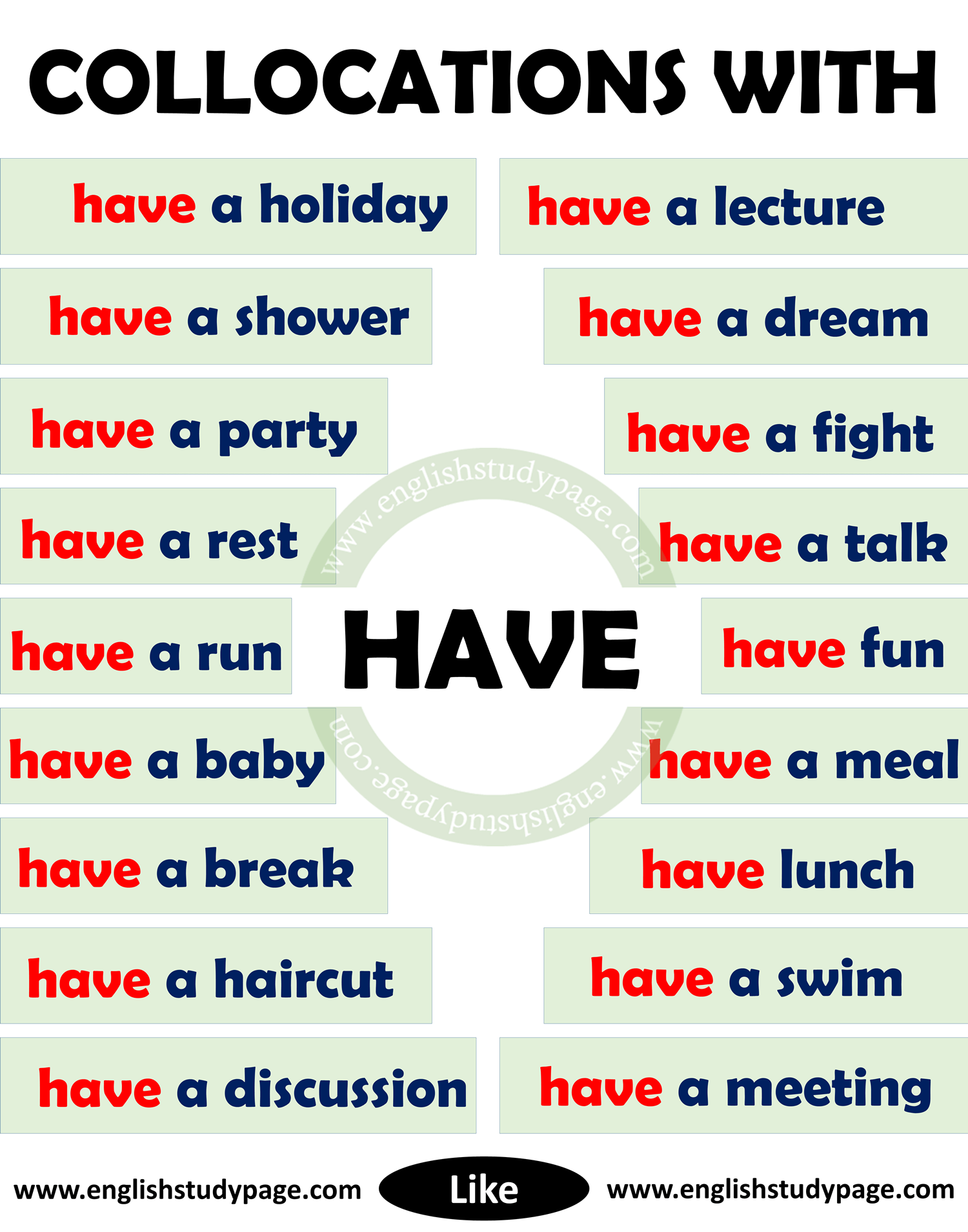 Collocations With Have In English English Study Page