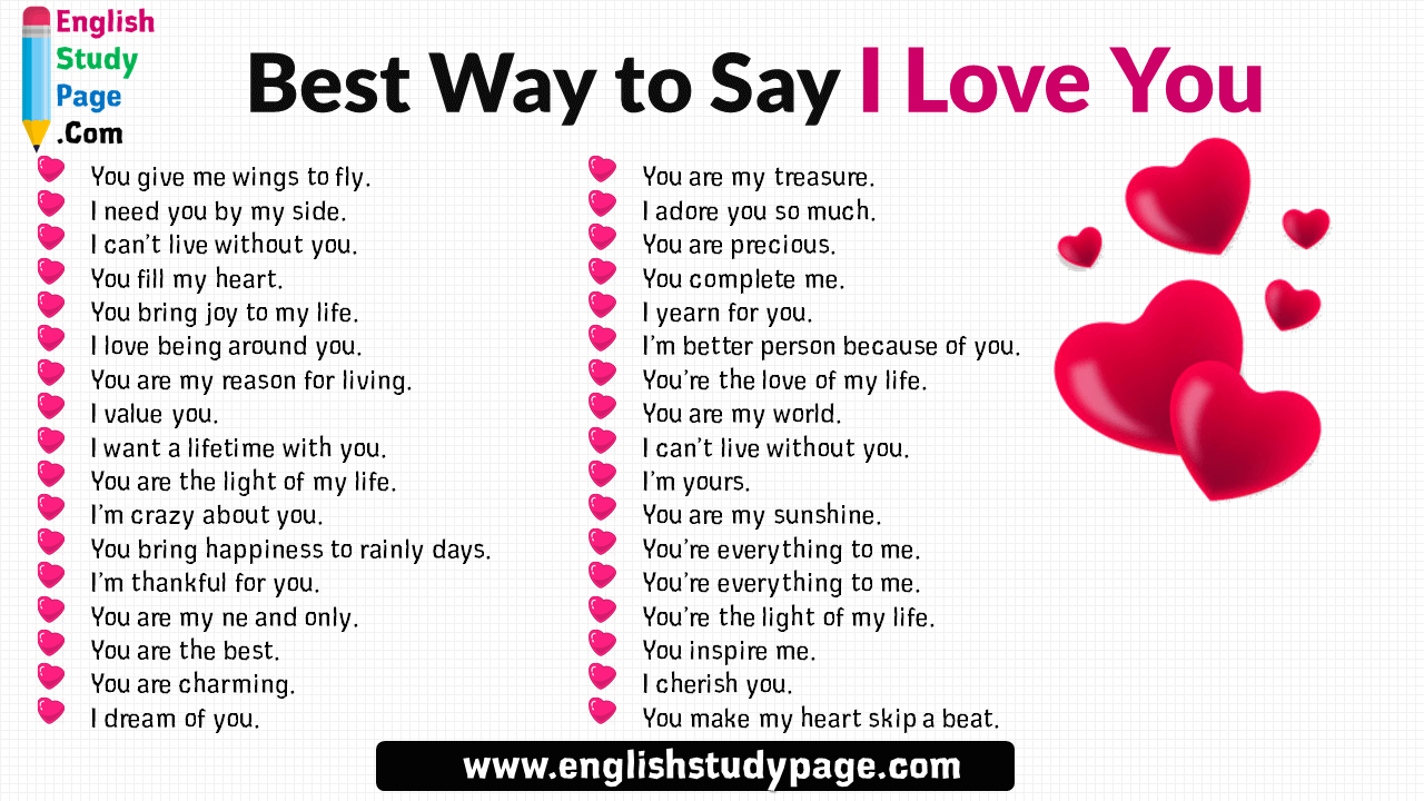 34 Best Way to Say I Love You - English Study Page