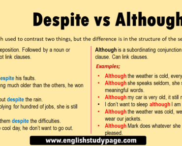 English Using Despite and Although, Definition and Examples