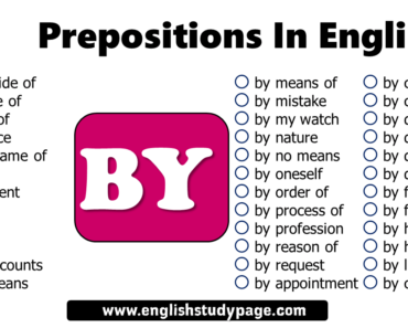 Prepositions In English, Prepositiona Phrases with BY