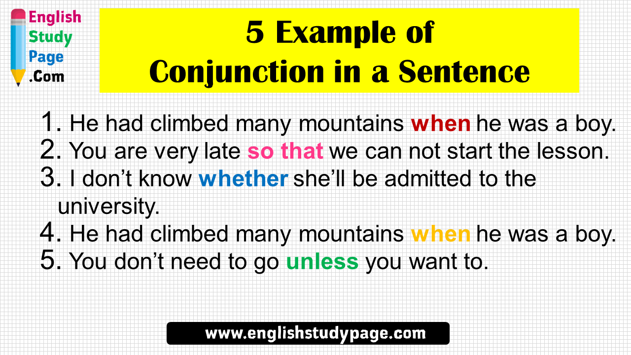 5 Example of Conjunction in a Sentence - English Study Page