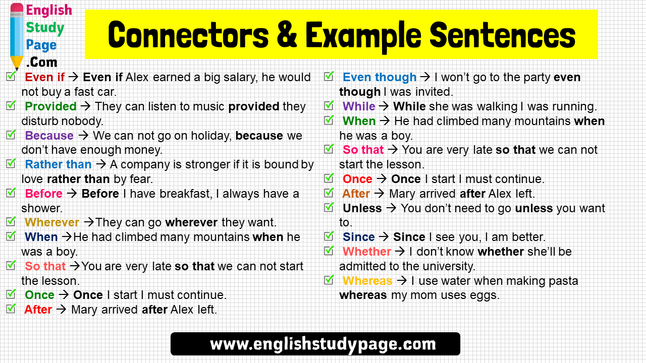 Connectors Example Sentences In English English Study Page