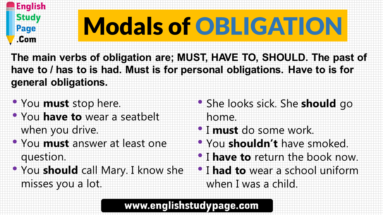 Modals Of Obligation Definition And Example Sentences English Study Page