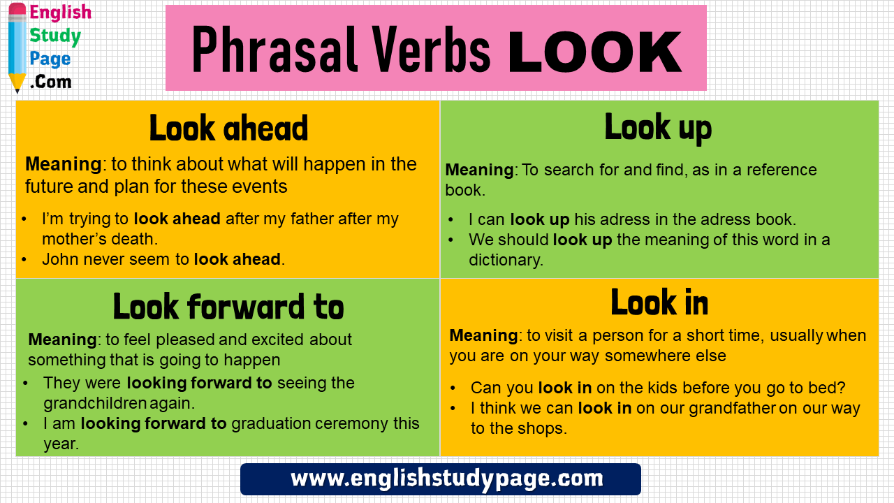 Phrasal Verbs with LOOK, Definition and Example Sentences - English Study  Page